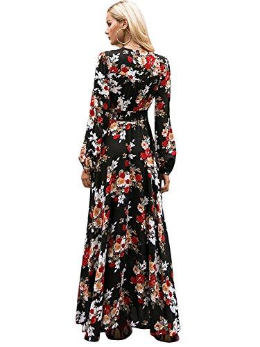 Simplee Apparel Damen Kleid Vintage Print VAusschnitt Boho Schlitz ...