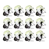 12x Feuerwehrhelm Kinder, verstellbar, klappbares Visier, schwarzes Nackentuch, Feuerwehr, HBT 24,5 x 22,5 x 28 cm, gelb