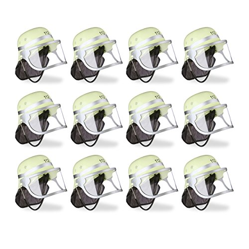 12x Feuerwehrhelm Kinder, verstellbar, klappbares Visier, schwarzes Nackentuch, Feuerwehr, HBT 24,5 x 22,5 x 28 cm, gelb (Feuerwehr Helm Kinder)