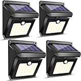 Luposwiten Focos Solares 28 LED,Luz Solar Exterior Lámparas de Pared Iluminacion Exterior para Jadines, Patios, Cercados, Caminerías,Garaje,Balcone Luz con Sensor de Movimiento Lampara de Seguridad(IP65 Impermeable,4 Paquetes)