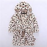 WEILIVE Gemütlich Kinder Kid Boy Girl Flanell Kapuzen Bademantel Badetuch Leopard Muster Bademantel Nachthemd Nachtwäsche Handtuch-Kleid (Farbe : Brown)