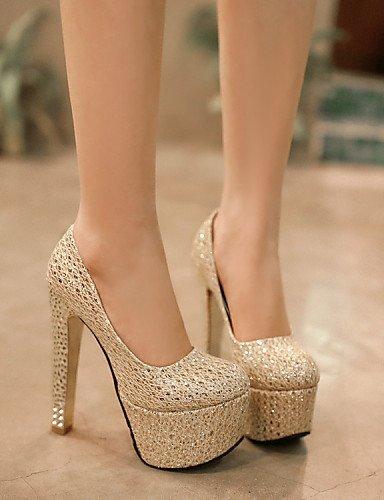 ShangYi Chaussures Femme-Mariage / Bureau & Travail / Habillé / Soirée & Evénement-Argent / Or-Gros Talon-Talons-Talons-Matières Personnalisées golden