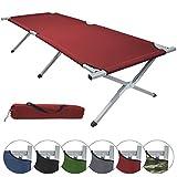 Feldbett HOLIDAY LITE 200 x 70 x 45 cm Gästebett aus Aluminium Camping-Bett in vielen Farben, Farbe:red
