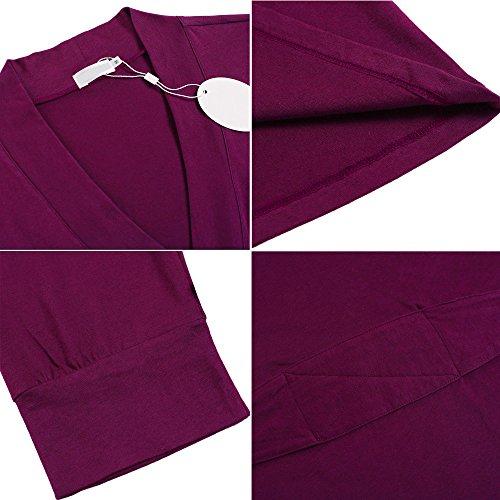 Unibelle Damen Morgenmantel 3/4 Ärmel Bademantel Kimono Baumwolle Saunamantel Robe Negligee Mit V-Ausschnitt 1-Lila Rot