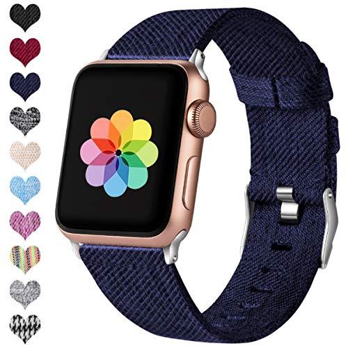 HUMENN Kompatibel mit Apple Watch Armband 38mm 40mm 42mm 44mm, Ersatzgewebe Band Nylon Sport Armband mit Rostfreier Metallschnalle für iWatch Serie 4 3 2 1, Blau 38mm/40mm -