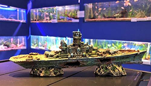 Aql WWII Aquarium-Dekoration Schlachtschiff Schiffswrack -