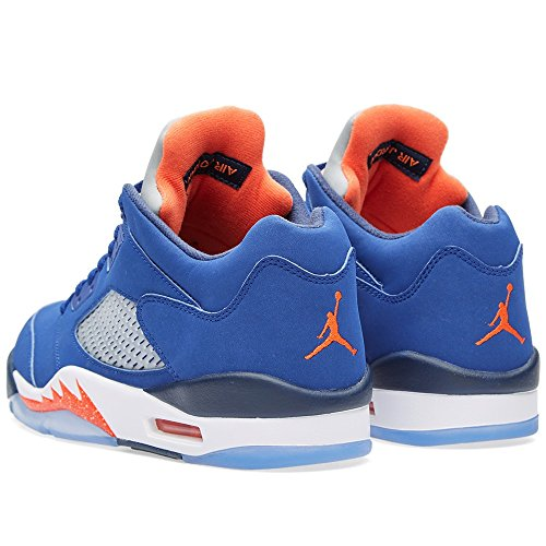 Nike Herren Air Jordan 5 Retro Low Basketballschuhe, Weiß, 44 EU Blau / Orange / Weiß (Dp Ryl Bl / Tm Orng-Mid Nvy-Atmc)