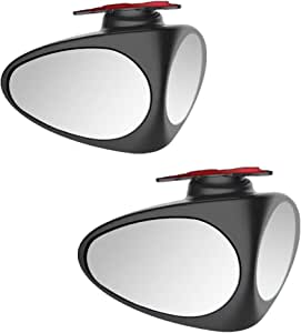 1 Black, Left 360/° Rotation Adjustable Convex Wide Angle Dual Mirrors for Rear View Front Tire HD Glass Side Mirror Blind Spot Auxiliary Lens for Vehicle SUV Truck Leagway Car Blind Spot Mirror