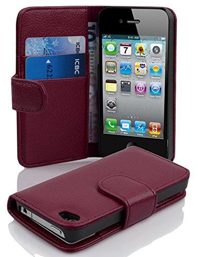 Cadorabo Hülle für Apple iPhone 4/ iPhone 4S Hülle in Handyhülle mit Kartenfach aus Struktriertem Kunstleder Case Cover Schutzhülle Etui Tasche Book Klapp Style Bordeaux Lila