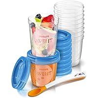 Philips Avent SCF721/20 - Juego de recipientes para comida de bebé (10 de 180 ml + 10 de 240 ml + 1 cuchara + libro recetas)
