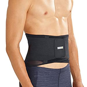 BRACOO atmungsaktive Rückenbandage – leichter Rückenstabilisator – breite Rückenstütze – Lumbalbandage für Damen und Herren – BP60