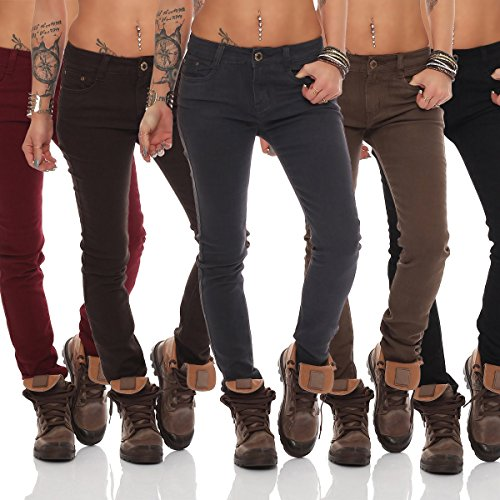 10774 Fashion4Young Damen Sexy Jeans Röhrenhose pants Hose Damenjeans Dunkelblau