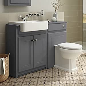 bathroom sink and toilet vanity unit 1100mm combined vanity unit toilet basin grey bathroom 24940
