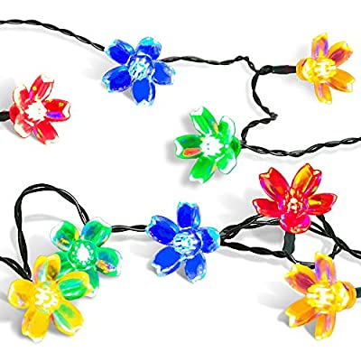 Outside Patio Tree/Window Lights 50 Flower Led, Satu Brown Solar LED String Fairy Lights 23ft 7m for Garden, Party, Wedding, Bedroom Decoration (Multi-Color)