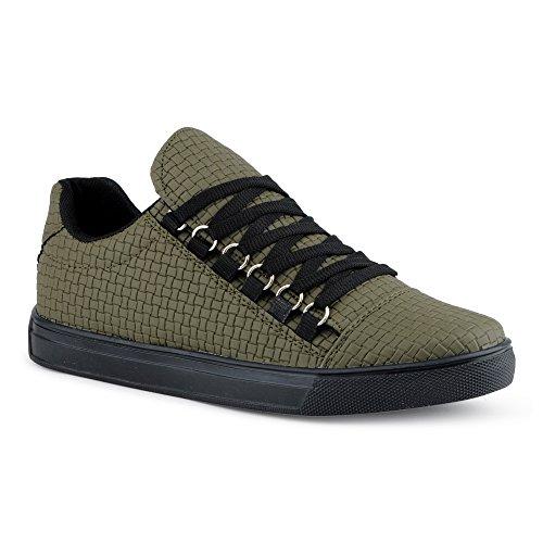er Sportschuhe Schnürschuhe Muster Freizeitschuhe Low Top Schuhe Grün EU 44 (Supra Schuhe Classic)
