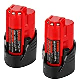 [2 Packs] Powayup pour M12 10.8V 2.0Ah Batterie Li-ion Replacement pour Milwaukee Batterie, 48-11-2401, 48-59-1812, 48-11-2411, 48-11-2420, C12 B, C12BX, 48-59- 1812, 2510-20, 48-59-2401