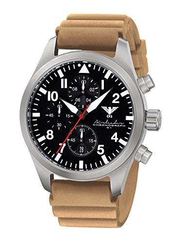 Airleader Steel Chronograph KHS. Airsc DT Stainless Steel, Diverband Tan, Khs Tactical Watch, Wrist Watch, Aviator Watch