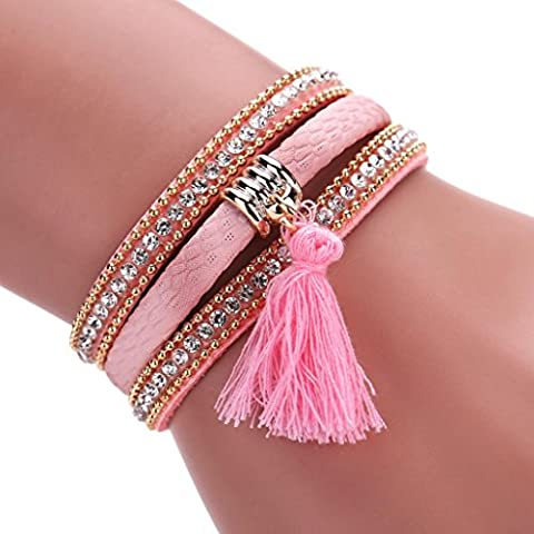 Fulltime(TM) Women Bohemian Bracelet Pearl Woven Braided Handmade Wrap Cuff Magnetic Clasp (Pink-1)