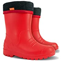Ultralight Boys Girls Kids Warm Fleece Lined Rain Boots Wellington Boots Wellies Dino (Red, Size 1-2 UK / 34-35 EU - 217 mm)