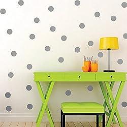 ufengke® 54 Piezas Lunares Círculos Pegatinas de Pared, Vivero Habitación de los Niños Removible Etiquetas de la Pared Murales Gris