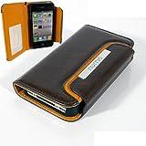 Numia Bookstyle Handytasche Apple iPhone 4 / 4S mit Magnetverschluss + Trageband Braun Orange