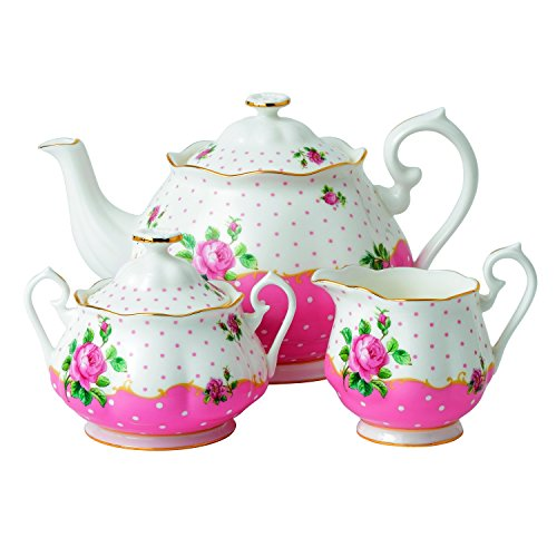 Old Country Roses Tee-set (Royal Albert Cheeky Pink Tischset, 5-teilig 3-Piece Set (Teapot, Sugar & Creamer) rose)