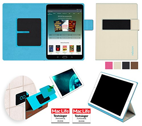 Samsung Galaxy Tab S2 Nook Edition Hülle Cover Case in Beige - innovative 4 in 1 Tablethülle - Anti-Gravity Wandhalterung KFZ Halterung Tischaufsteller Schutzhülle - Tablet Halterung für Auto und - 4 Tab Samsung Nook-etui Galaxy