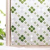 CottonColors Bunte 3D Fensterfolie Dekorfolie Sichtschutzfolie milchglasfolie Selbstklebend Anti-UV DIY Geeignet für Küche Rote Blumen Badezimmer 3Ftx6.5Ft (90CMx200CM)