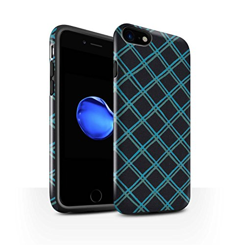 STUFF4 Glanz Harten Stoßfest Hülle / Case für Apple iPhone 8 / Rot Muster / Kreuz Muster Kollektion Blau/Schwarz