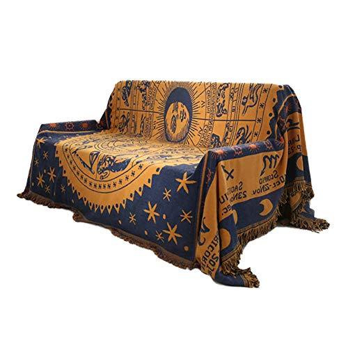 BAIF Gerald Cotton Sofa Decke werfen, Reversible Rich gedruckt Streifen Gesteppte Möbel Beschützer Couch Cover-gelb 130 X 180CM