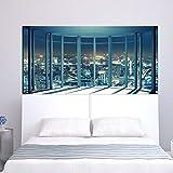 Wandbilder Decor Fensterbank-Stadt-Ansicht Muster Nacht Aufkleber Selbstklebende Abnehmbare HD Vinyl Decals Dekoration Wandtapete Moderne Wanddeko Tapeten