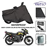 #8: Fabtec Waterproof Bike Cover for Honda Shine Sp Side Mirror Pocket with Buckle Lock & Storage Bag Free
