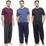 Uomo pigiama set top con manica corta & lungo pantaloni estivo Pjs pigiama HT332C BLACK+DK GREY X-Large