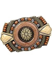 perfeclan Boucle de Ceinture en Alliage avec Perle en Bois Strass Incrustés  Style Indien Bohémien Amérindien Pour… b88eccea03b