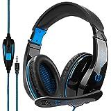 Stereo Gaming Kopfhörer, Anivia A9 Gaming Headset Computer-Kopfhörer mit Mikrofon, 3,5 mm Jack für PS4 Neue Xbox One Mac Gamer, Schwarz/Blau