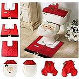 LEORX 3pcs decorazioni natalizie per bagno carino Babbo felice sedile WC coprono tappeto copriserbatoio