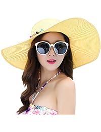 39377ae18a903 Urban GoCo Mujer Plegable Sombrero De Paja Moda Verano Sol ala Ancha  Flexible Playa Anti-