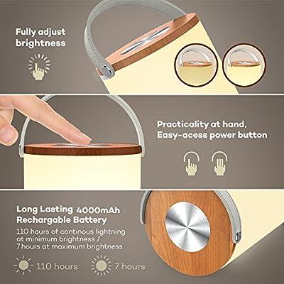 Tischlampe vintage TaoTronics tragbare Tischlampe LED Tischleuchte Nachttischlampe, 360 Grad Beleuchtung, berührungsempfindliche stufenlose Dimmung, Merkfunktion, Ein-Griff-Design mit 4400mAh wiederaufladbarem Akku Weiß von TaoTronics