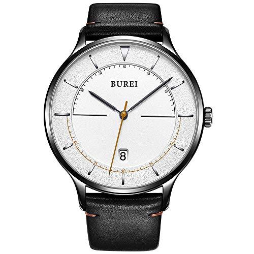 Burei Unisexe Ultra mince minimaliste montres avec calendrier Cadran blanc Bande de cuir de vachette en verre minéral (blanc)