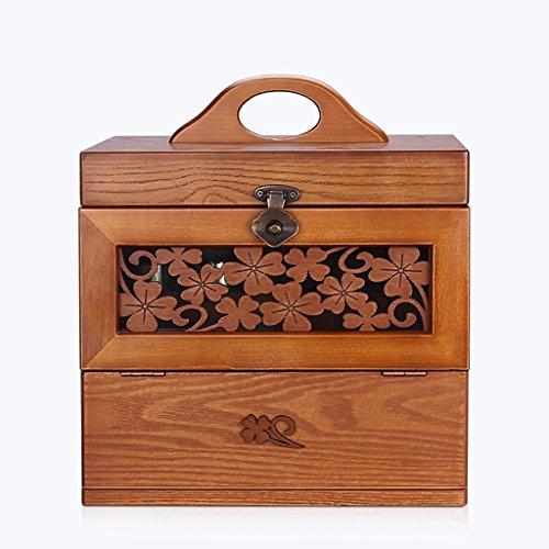Cosmetic Case principessa Cosmetic Caso di legno ad alta capacità intagliato con uno specchio cosmetico di ammissione di finitura Scatole ( colore : A )