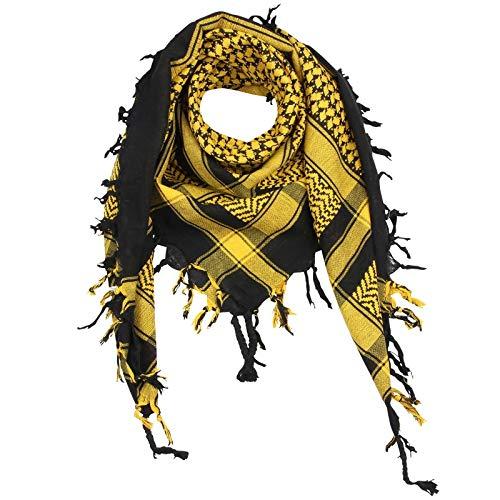 Superfreak® Palituch Grundfarbe schwarz°PLO Schal°100x100 cm°Pali Palästinenser Arafat Tuch°100% Baumwolle, Farbe: schwarz/gelb