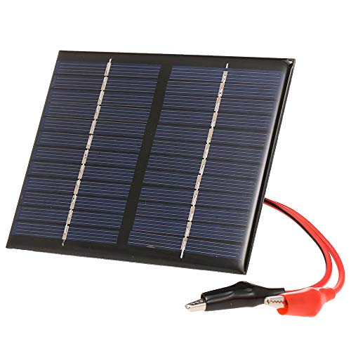 1.5W 12V Solarpanel Solarmodule mit Krokodilklemmen polykristalliner Sonnenkollektor,150mA Solarzelle Solarladegerät für Garten/Verkehr/Notlicht Solarpumpe Außenwerbung Spielzeug