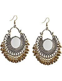 Zephyrr Jewellery German Silver Afghani Dangler Hook Chandbali Earrings Mirrors