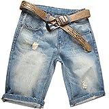 Valuker Herren Denim Bermuda Jeans Shorts Sommer Kurze Hose hellblau Ohne Guertel W34