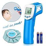 Fieberthermometer, Digital Stirnthermometer, Baby Thermometer, Berufsinfrarot Thermometer Schnell Passend für Babys Kinder und Erwachsene Hohe Genauigkeit mit Kostenlosen Fever Cooling Pad