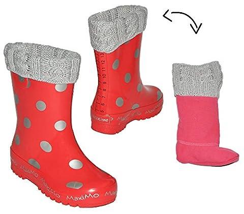 Gummistiefel warm gefüttert - herausnehmbares Fleece Innenfutter - Punkte rot silber - Größe 33 - für Kinder / Mädchen - Naturkautschuk + Winterfutter / gepunktet Winter- Regenstiefel und Sommer Stiefel