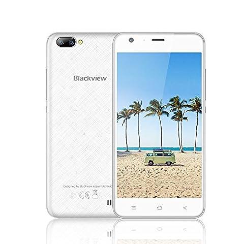 Smartphone ohne Vertrag, Blackview A7 Dual SIM Smartphone Handy mit 5.0 Zoll HD IPS Display - Android 7.0 Smartphone - Quad Core 1.3GHz - Hintere Dual Kamera 5.0MP - 2800mAh Große Batterie - 8GB ROM - (Sim Ohne Vertrag)
