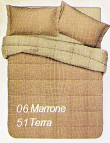 Piumone trapunta letto matrimoniale 2 piazze double face marrone/terra copriletto trapuntato in microfibra 320 gr /mq, made in italy