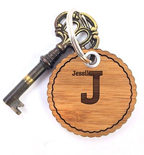 Mr. & Mrs. Panda Schlüsselanhänger Jessika - 100% handgefertigt aus Bambus Holz - Anhänger, Geschenk, Vorname, Name…