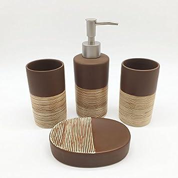 Luckyfree Badezimmer Zubehör Sets Keramik, 4 Teilig